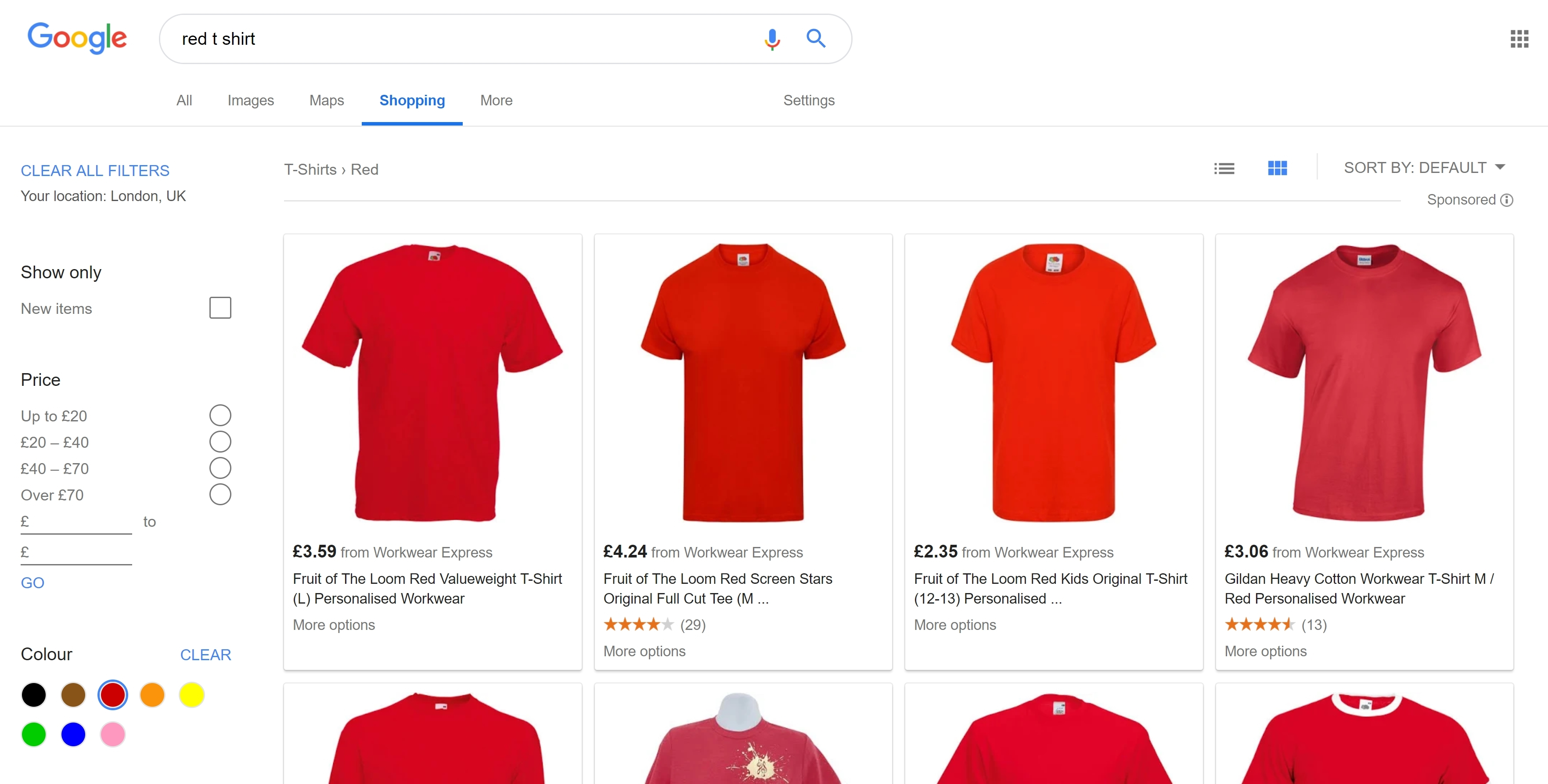 red t shirt search + red filter = different results